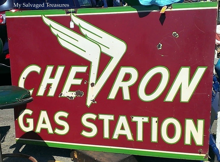 vintage Chevron gas station sign