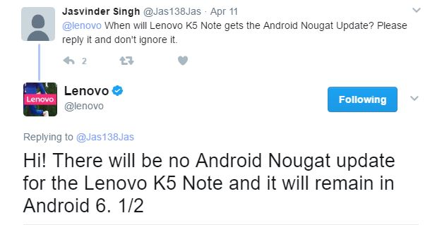 Lenovo K5 Note will not get Android Nougat Update - Tech Updates