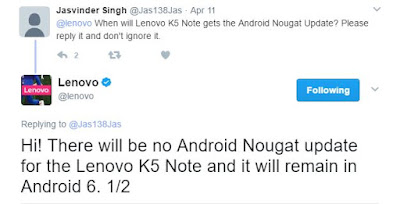 Lenovo K5 Note will not get Android Nougat Update