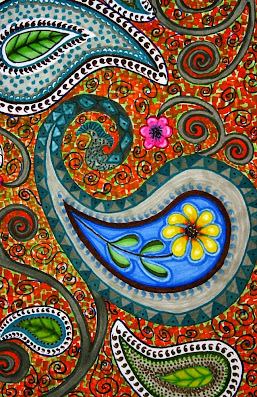 ART TECHNIQUE:  'Paisley in Spring' Using the wide nib of the pen, I stroke blocks of color in a variety of  directions and with various colors