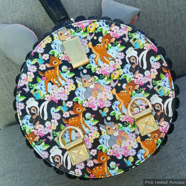 back of round handbag in Disney Bambi floral print