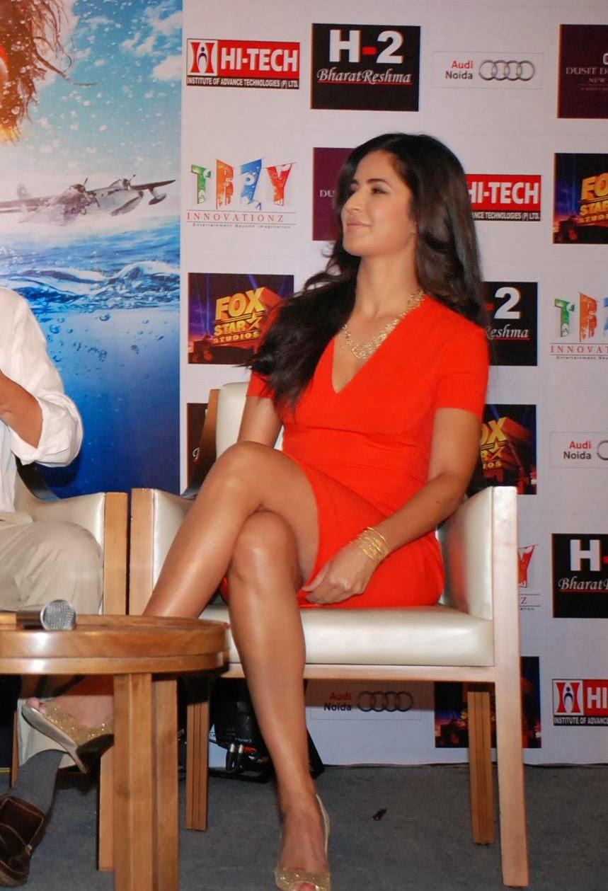Bollywood Actress Katrina Kaif Hot Thigh Show Photos In Orange Dress