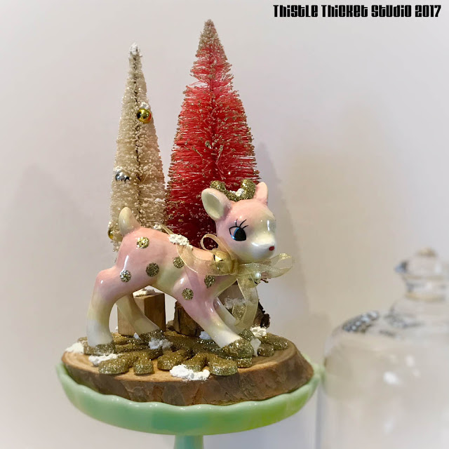 Pink Deer & Pink Bottle Brush Trees Winter Scene by Thistle Thicket Studio. www.thistlethicketstudio.com
