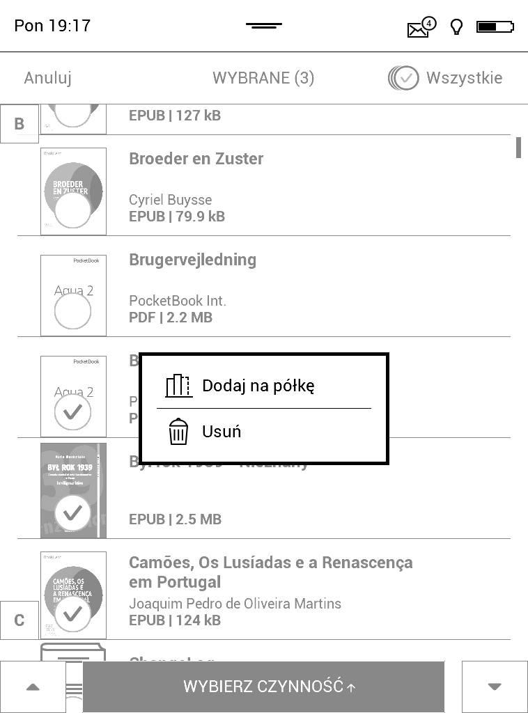 PocketBook Aqua 2 – hurtowe dodawanie e-booków do kolekcji