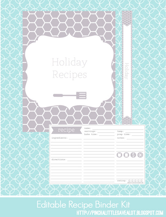 Pinch A Little Save-A-Lot: Free: Editable Recipe Binder Kit