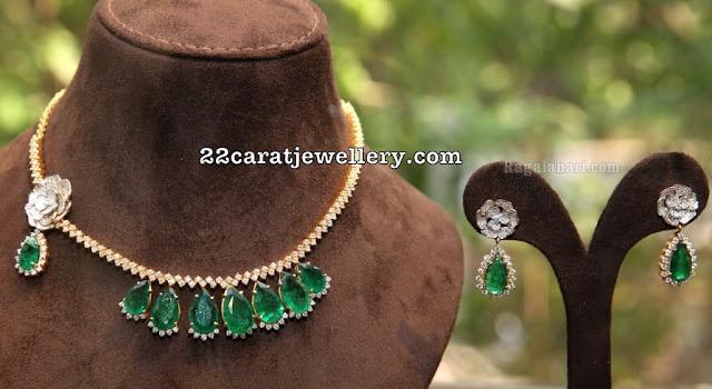 Simple Diamond Choker with Emerald Drops
