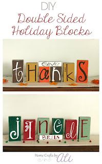DIY Wood blocks painted with vinyl letters to say Give Thanks and Jingle Bells