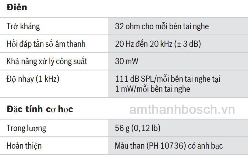 Thông số kĩ thuật tai nghe nhẹ có vòng cổ HDP‑LWN