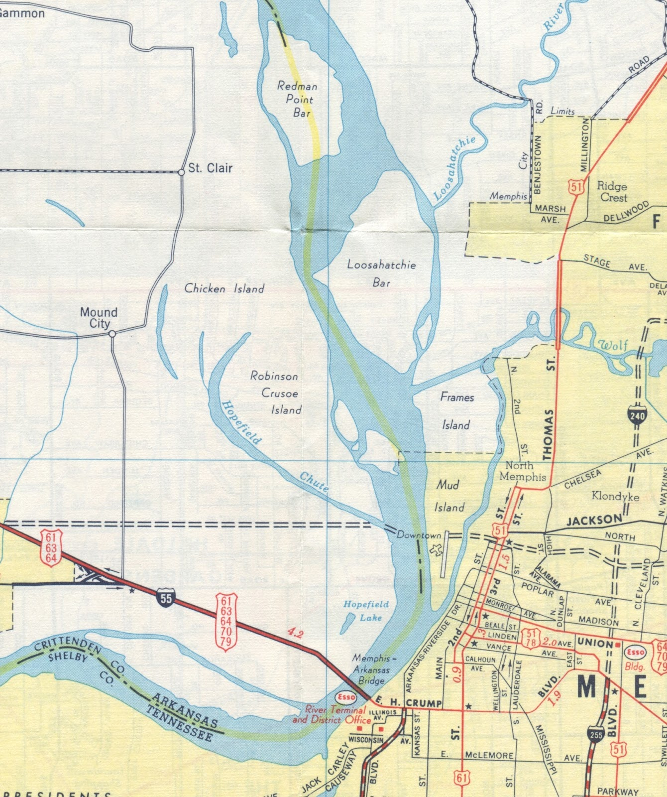 this map from 1964 shows the new wolf river channel which resulted in the wolf river harbor to the south of the channel since it was disconnected by the