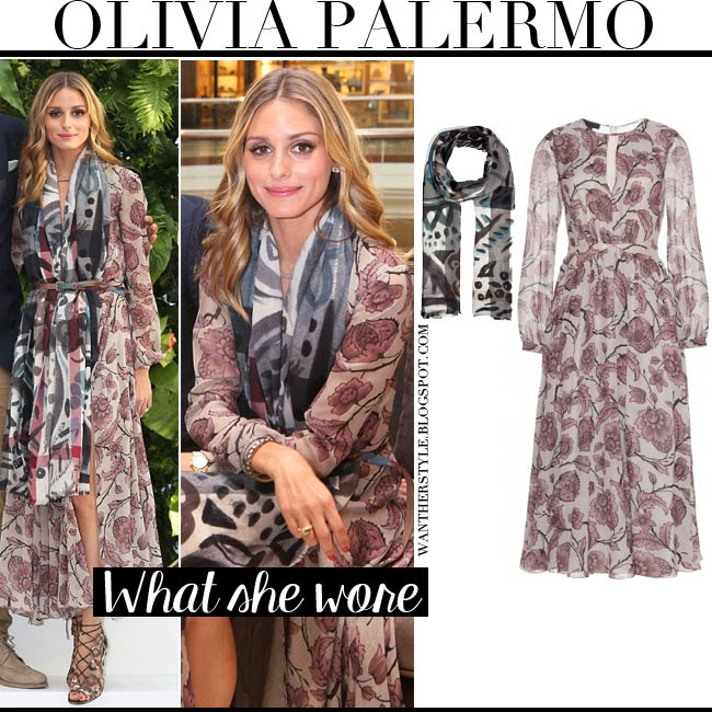 What She Wore Olivia Palermo In Floral Print Silk Dress