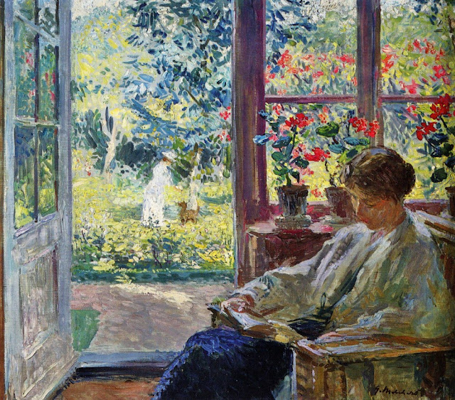 Painting of a woman reading by a window by Julius Garibaldi Melchers
