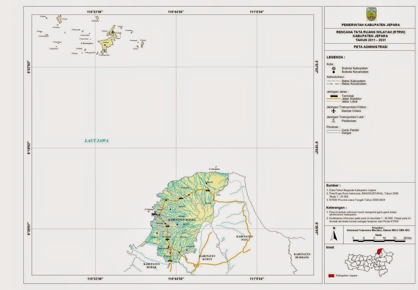 Peta Lengkap Indonesia Peta Administrasi Kabupaten Jepara