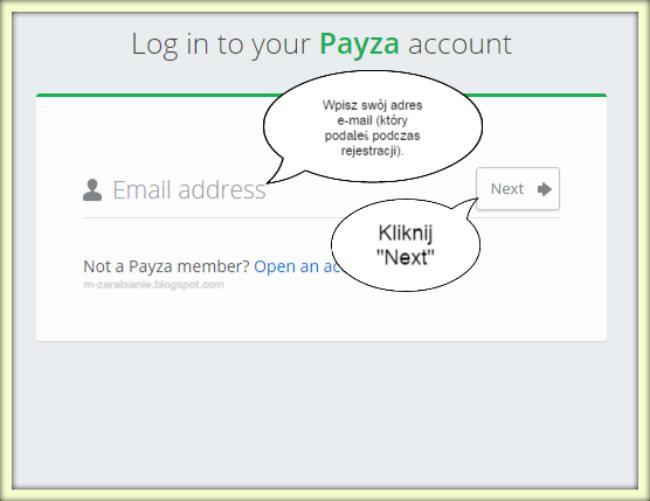 Jak zalogować się do procesora Payza? LOG IN