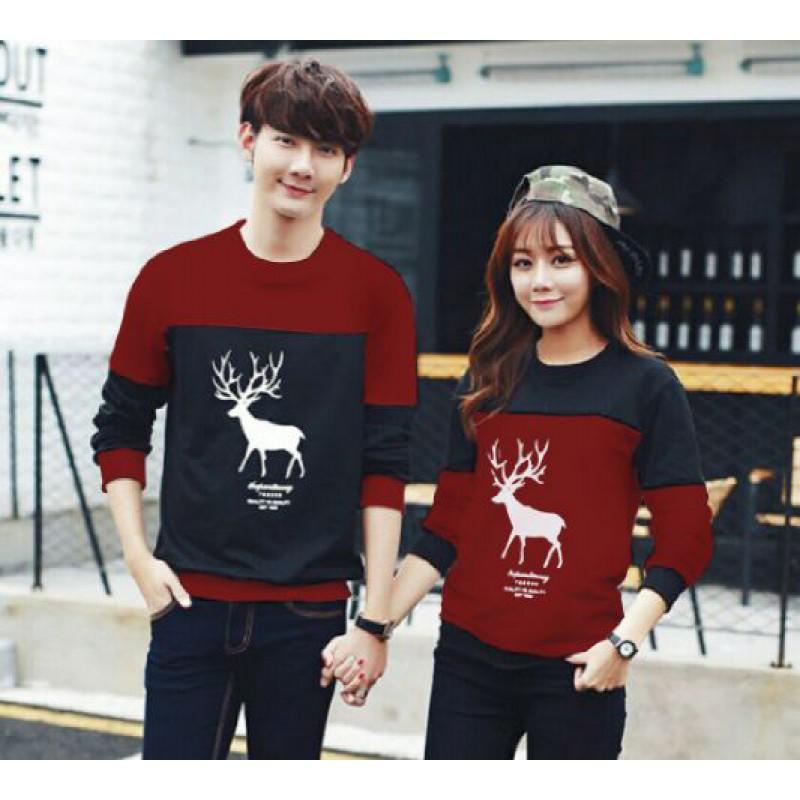 Jual Online Sweater Moose Maroon Black Couple Murah Jakarta Bahan Babytery Terbaru