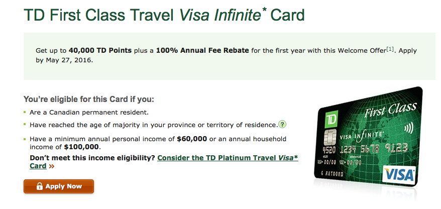 Td Visa Rewards >> Rewards Canada New Td First Class Visa Infinite Offer