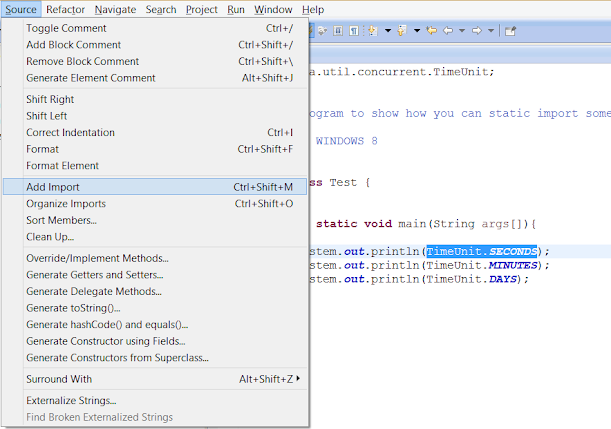 Static Import in Eclipse