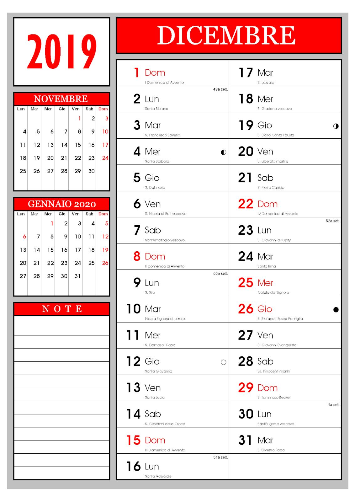 Calendario Mese Dicembre 2019.Calendario Calendario Mensile Dicembre 2019