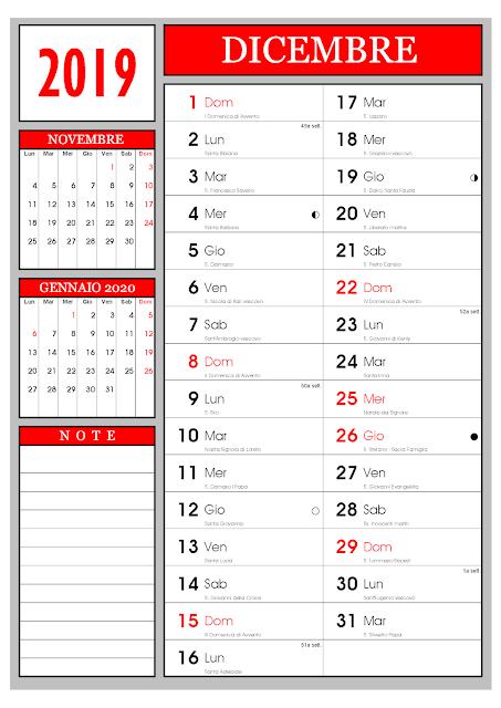 calendario mensile Dicembre 2019
