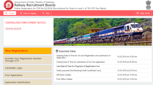 Railway RRB Recruitment Group 'D' 2018