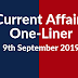 Current Affairs One-Liner: 9th September 2019