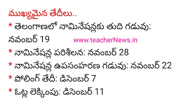 Telangana Assembly Election Schedule 2018