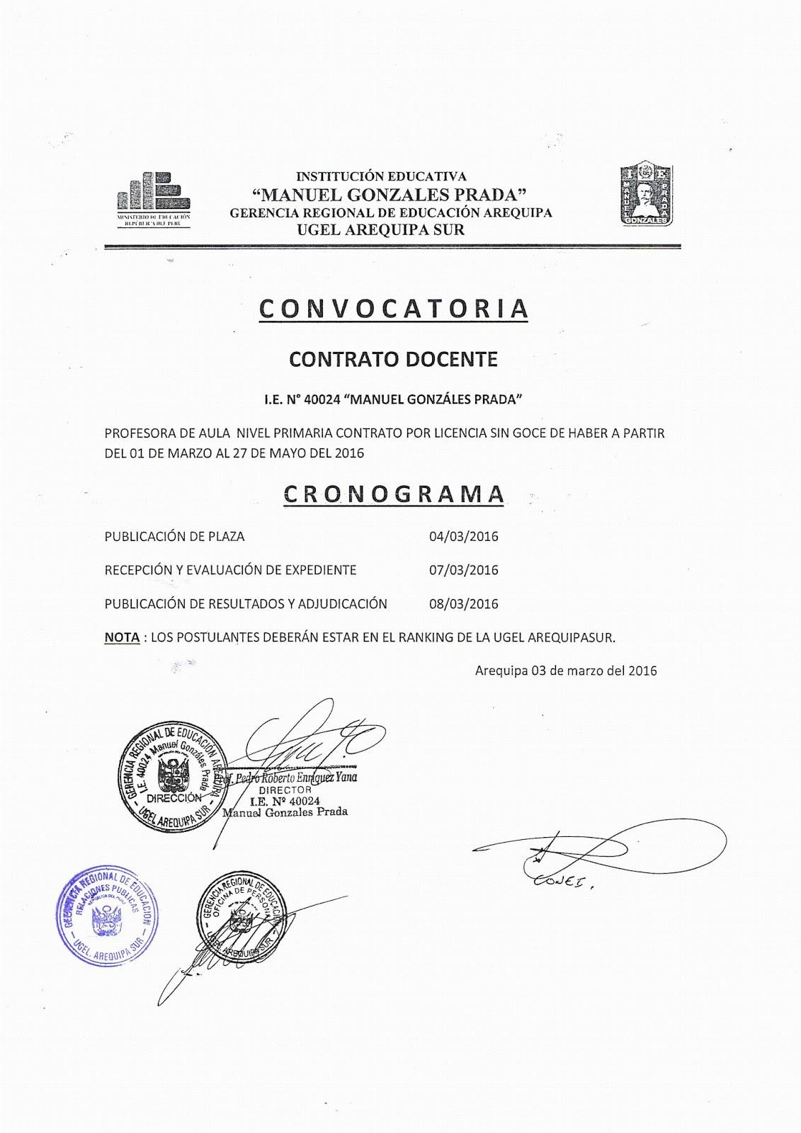Contrato docente 2016 convocatoria para plaza de primaria Convocatoria para las plazas docentes 2016