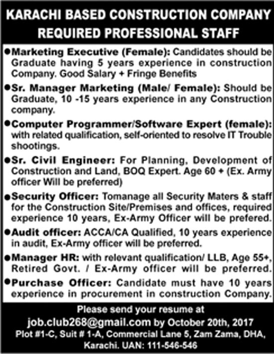 Jobs In Construction Company Karachi Oct 2017