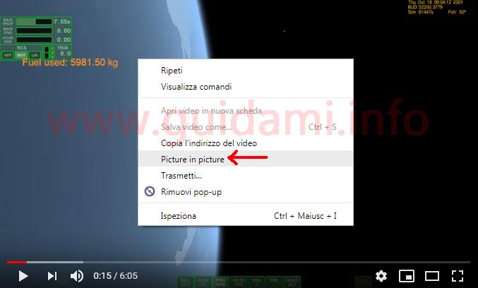 Player video YouTube menu contestuale opzione Picture in picture