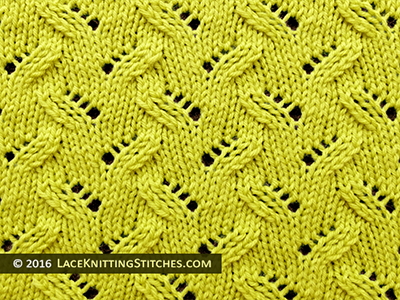 Knitted Lace Stitch. #36 Alternating Leaves on a background of stockinette.