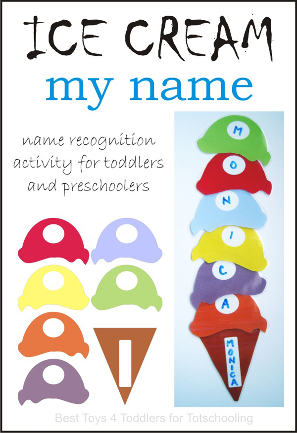 Build an ice cream cone with the letters in your name! Great preschool name recognition activity with free printable ice cream.