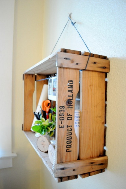 Decorate with old wooden crate boxes 6