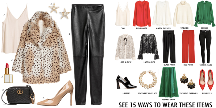 leopard jacket leggings pleated skirt lace blouse christmas party outfits