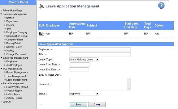 Etas Web based time attendance system