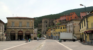 The main square in Parnucci's home town of Buti