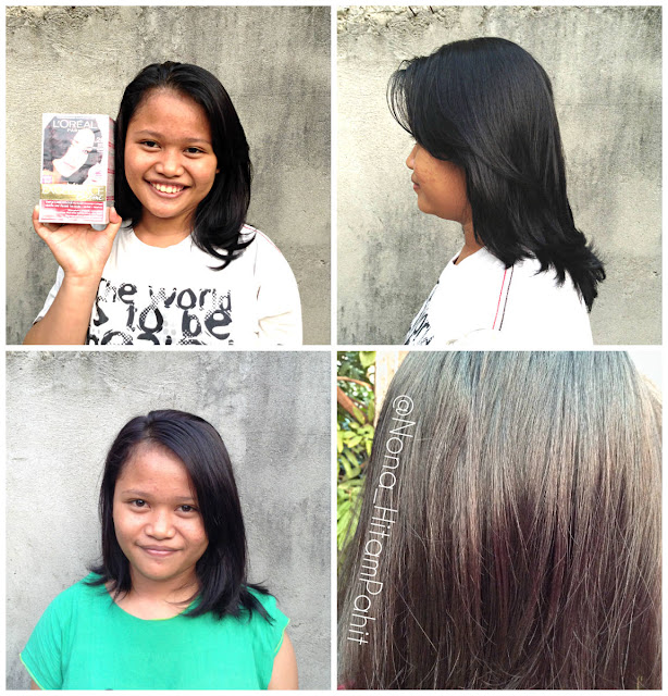 before after colouring with L'Oreal Paris Excellence Creme Purple Brown