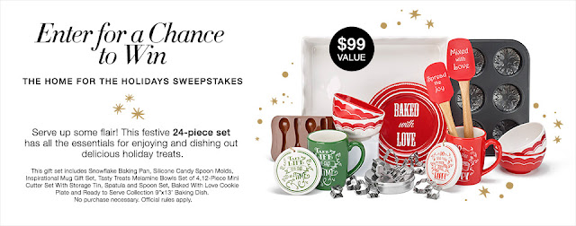 Sweepstakes entry for an Avon 24-piece Home for the Holidays gift set.