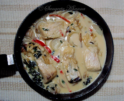 Stewed fish in coconut milk and peppers