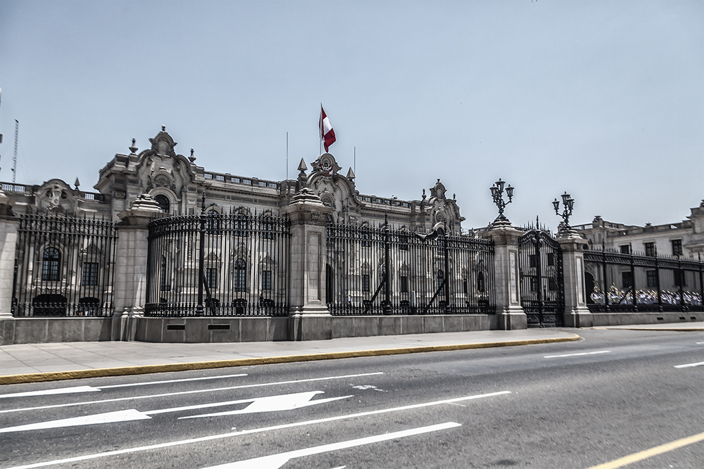 Frente del palacio de Gobierno del Perú