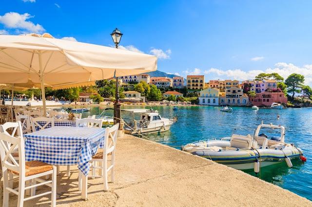 Restaurantes na ilha de Cefalônia, Grécia