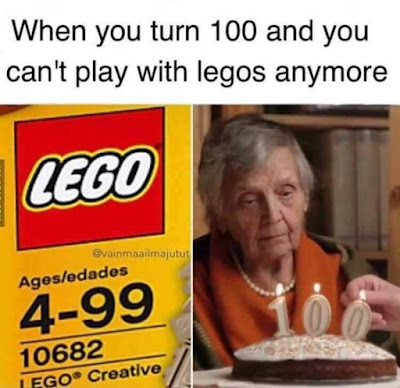 funny senior citizen picture, funny lego, lego joke, birthday joke, over the hill, turning 100