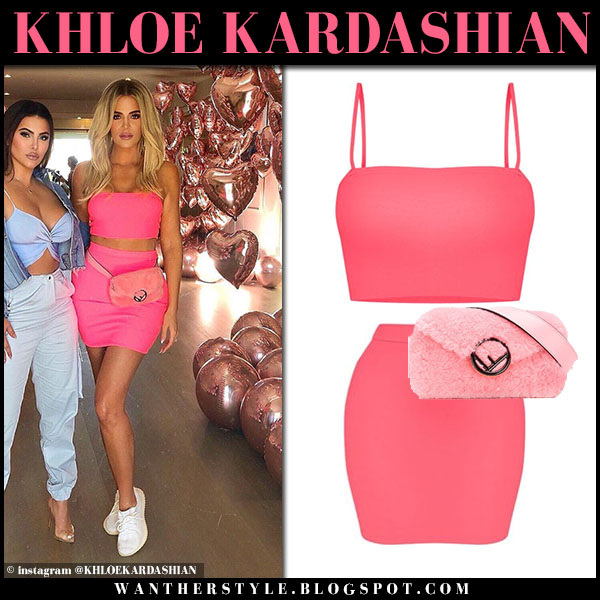 Khloe Kardashian in neon pink crop top and neon pink mini skirt pretty little thing party outfit september 21