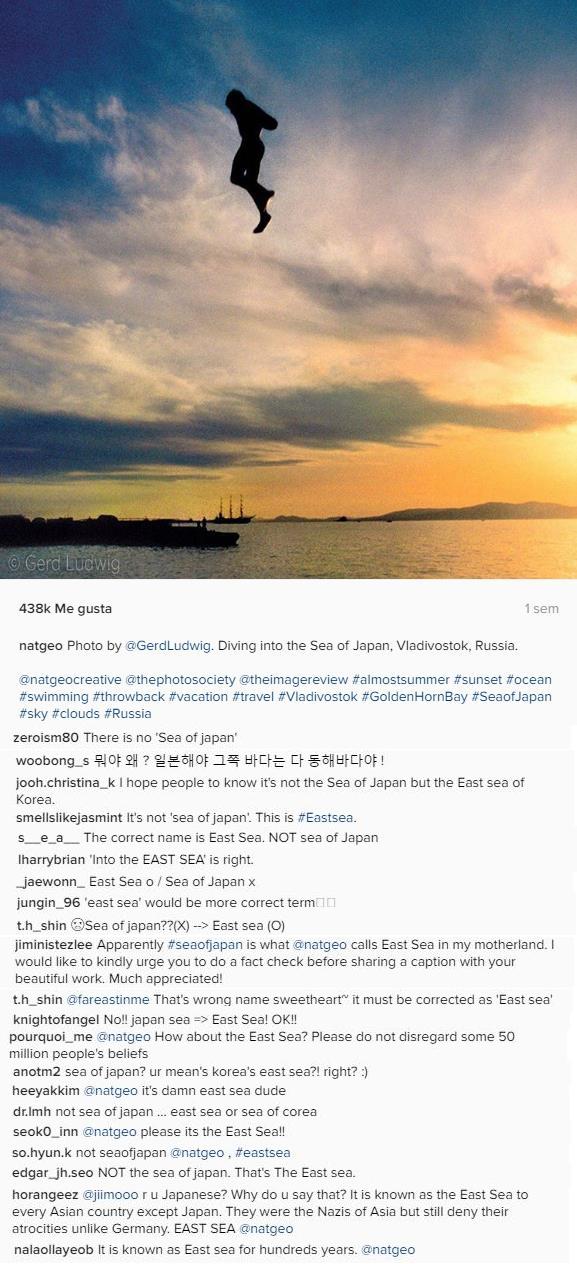 Foto de National Geographic con comentarios de protesta pidiendo el uso de mar del Este