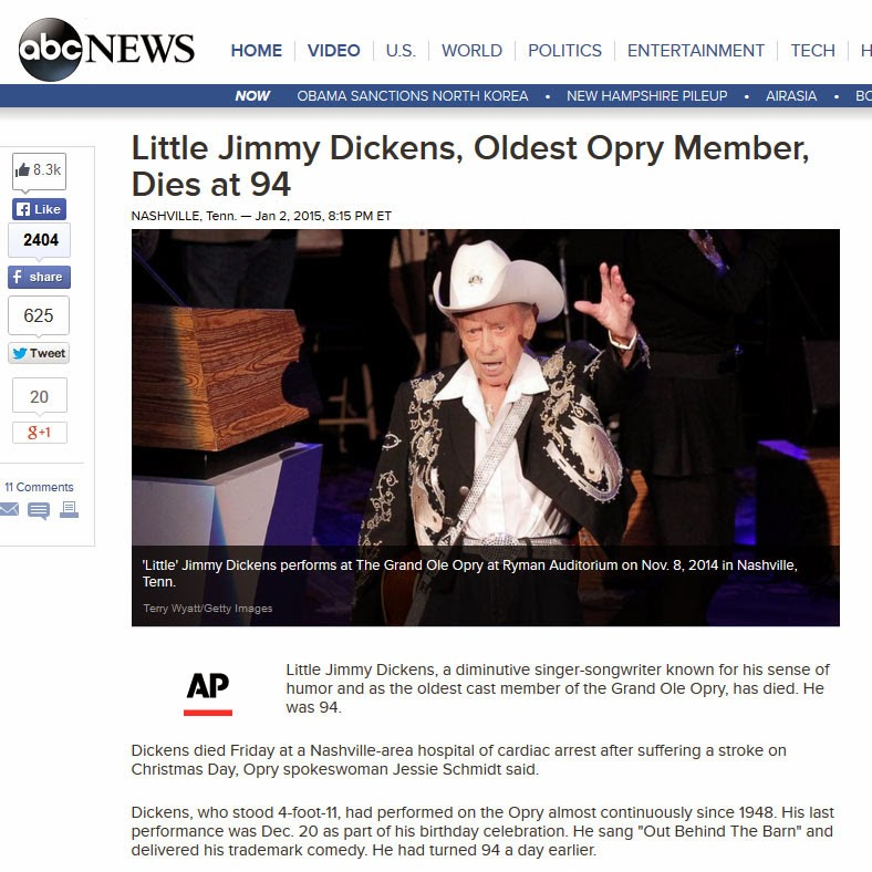 http://abcnews.go.com/Entertainment/wireStory/jimmy-dickens-oldest-opry-member-dies-94-27970694