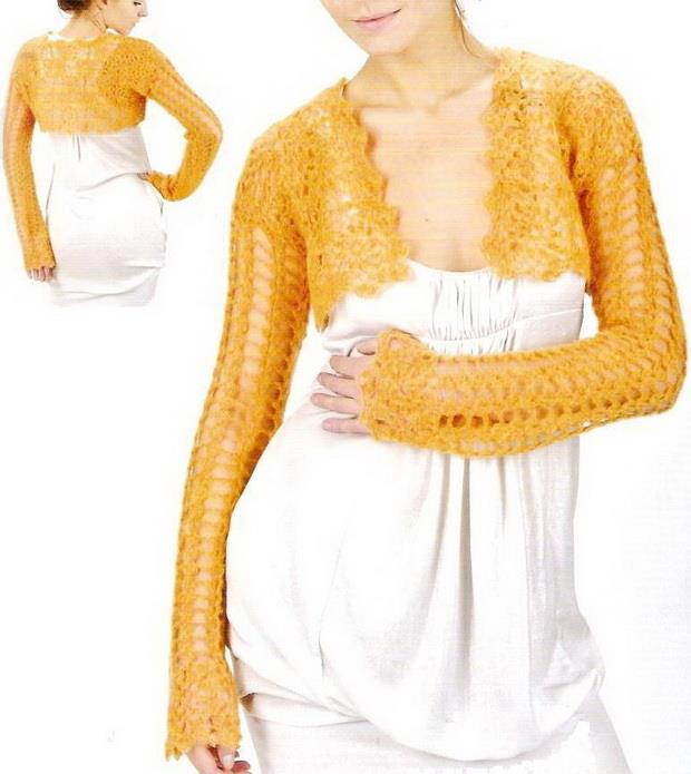 TEJER GANCHILLO CROCHET: Patrón de bolero a crochet.