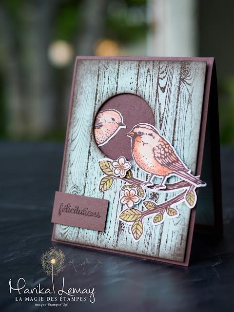 carte oiseaux avec le jeu envolée de voeux Stampin' Up!