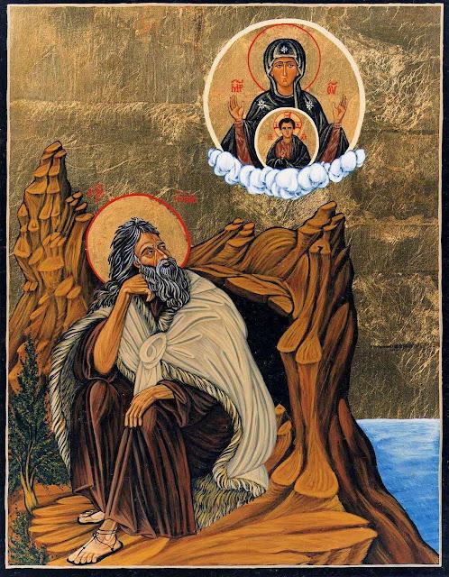 San Elías contemplando proféticamente la Madre de Dios