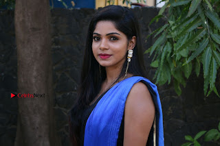Actress Divya Bharthi Stills IN Blue Saree at Mupparimanam Press Meet Stills  0004.jpg
