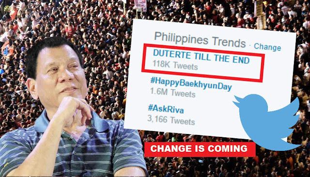 'Duterte till the end' is the #1 trending topic on Twitter