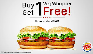 Burger King Buy 1 Get 1 Offer- Buy 1 Veg Or Chicken Whopper And Get Another Free