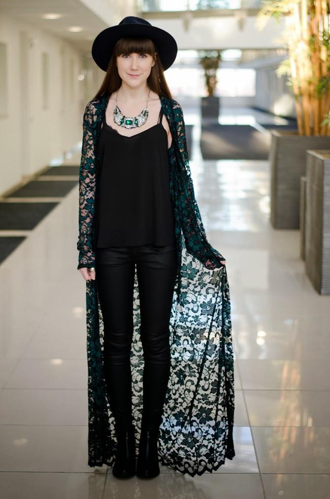 Black Lace Kimono Cardigan